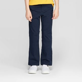 Girls' Bootcut Twill Stretch Uniform Chino Pants - Cat & Jack™ Navy 8