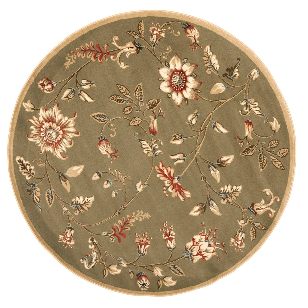 Green Floral Loomed Round Area Rug 5'3 - Safavieh