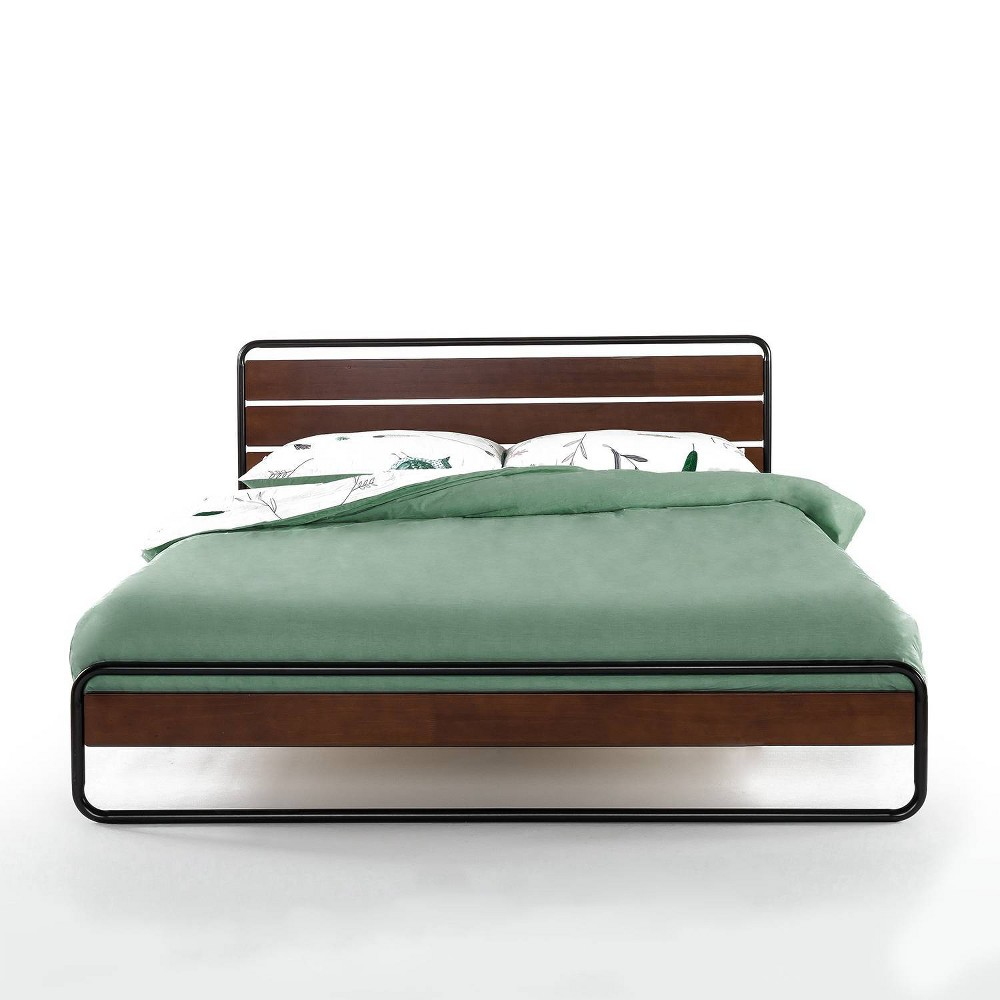 Therese Metal and Wood Platform Bed with Wood Slat Support Zinus