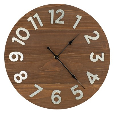 12  Frameless Rustic Walnut Wood Plank Wall Clock with Galvanized Metal Numbers Walnut - Patton Wall Decor