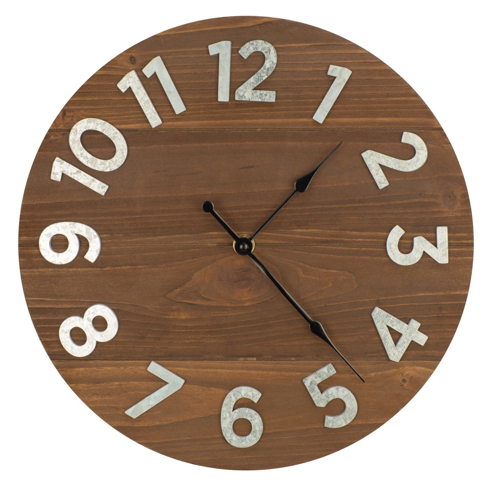"Image of ""12"""" Frameless Rustic Walnut Wood Plank Wall Clock with Galvanized Metal Numbers Walnut - Patton Wall Decor"""