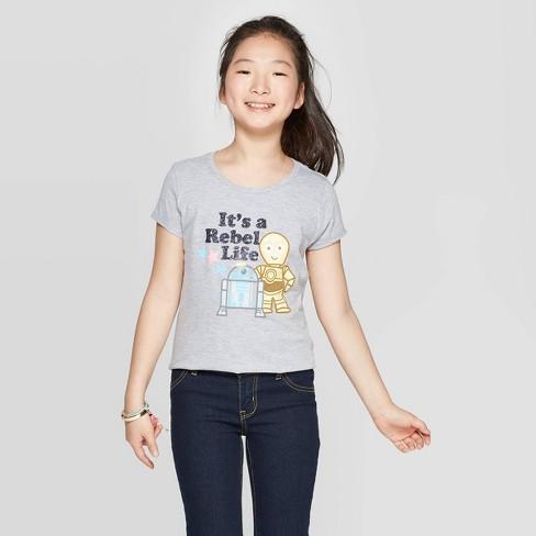 Girls' Star Wars Cap Sleeve T-Shirt - Heather Gray - image 1 of 3