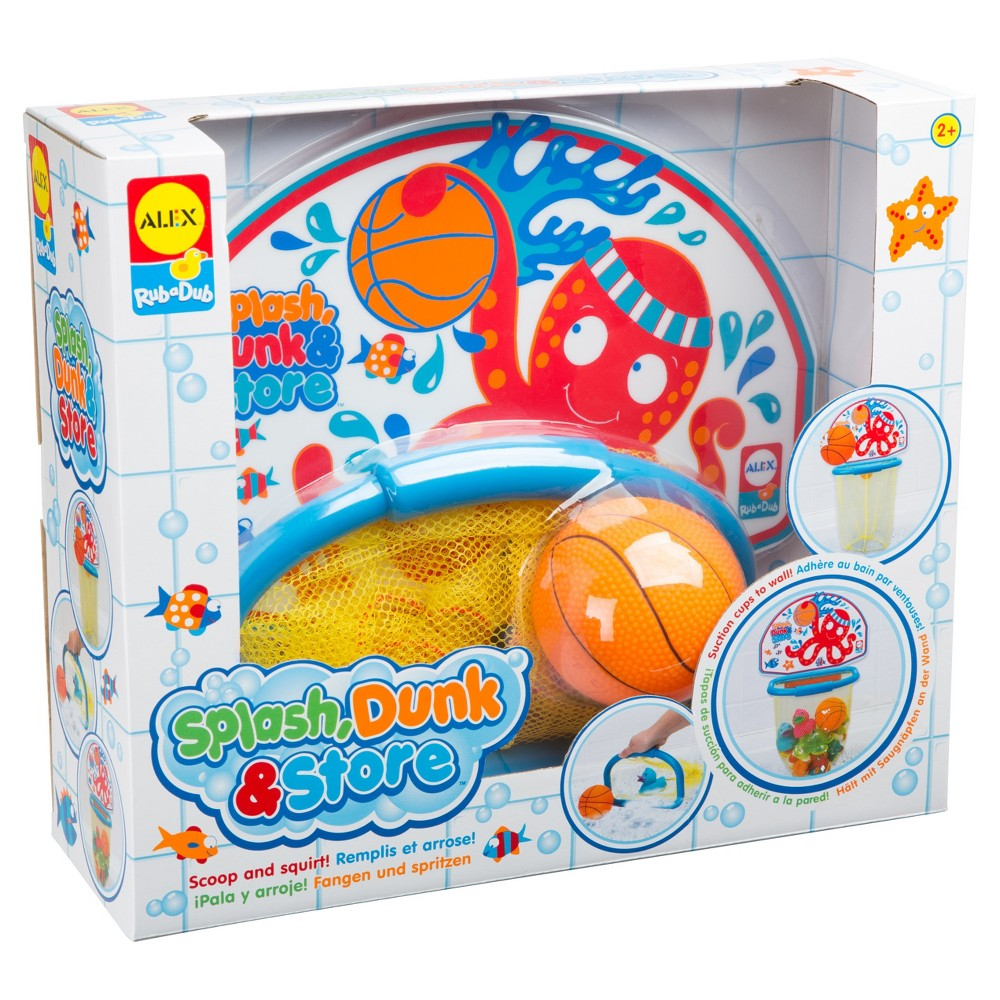 Alex Toys Splash Dunk & Store Make bath time fun with this basketball hoop that attaches to the shower wall with suction cups! Play ball with the basketball squirter or pull the net closed and use the detachable hoop as a scoop to store your tub toys! Gender: Unisex.