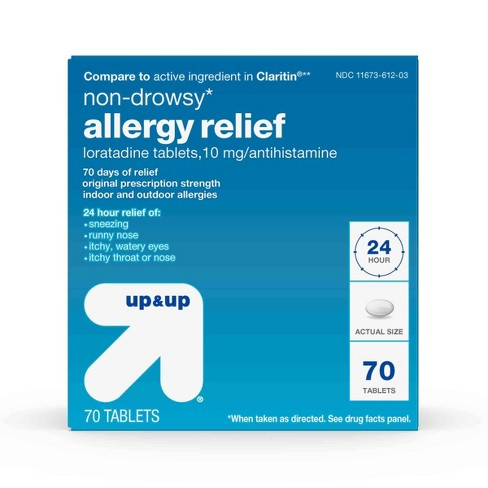Loratadine Antihistamine 10mg Non Drowsy Allergy Relief Tablets - 70ct - Up&Up™ - image 1 of 4