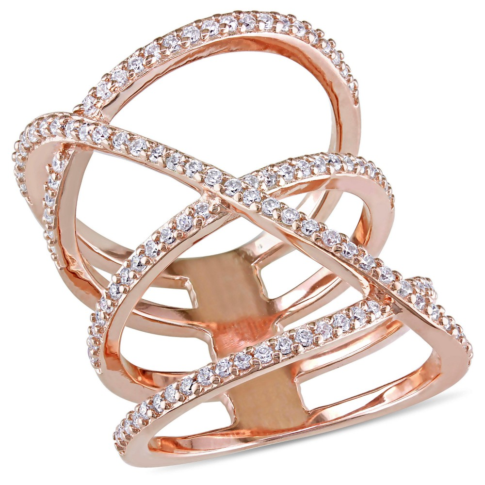 "Image of ""1.06 CT. T.W. Cubic Zirconia Openwork Crossover Ring in Pink Plated Sterling Silver - 5"""" - White, Women's, Size: 8"""