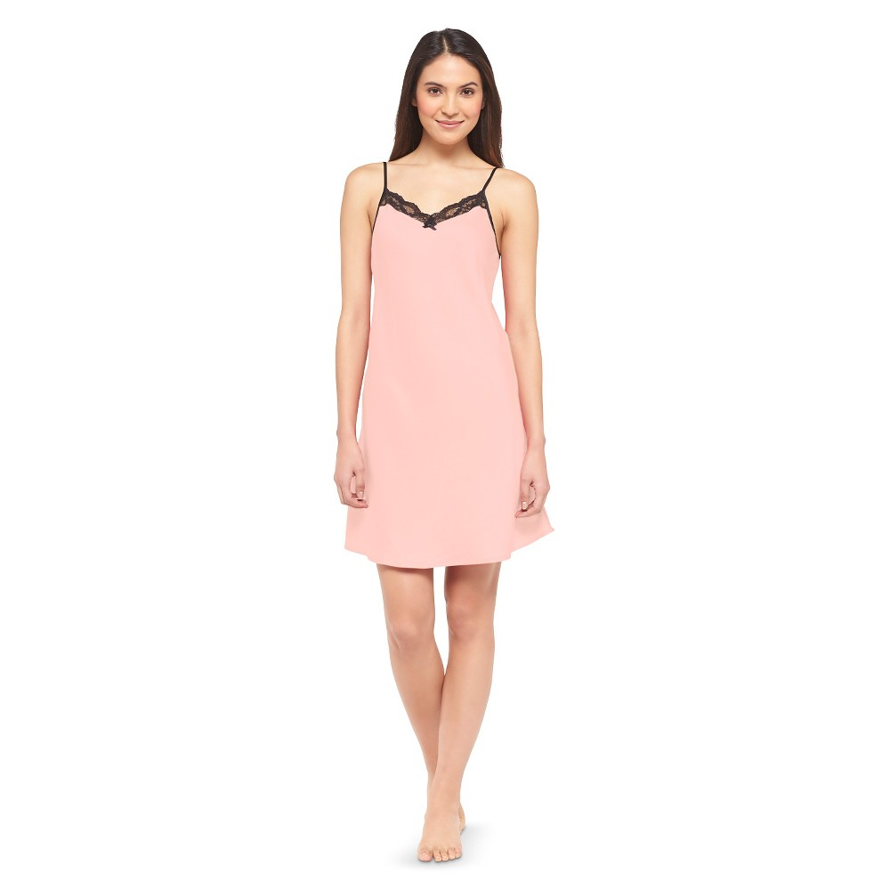 Women's Satin Sleep Chemise Coral View XL, Pink