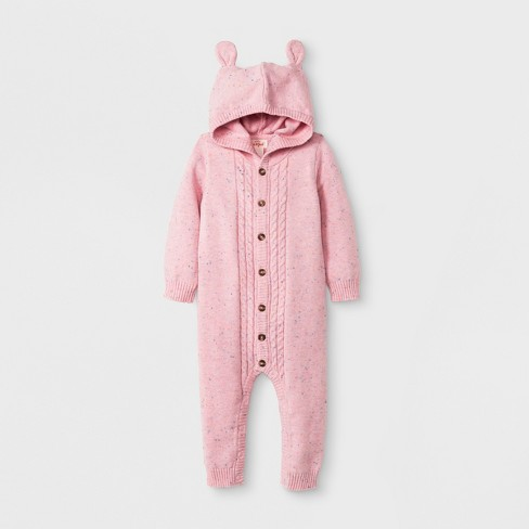 b68493d1fe0d Baby Girls  Long Sleeve Hooded Cable Sweater Romper - Cat   Jack™ Woodrose