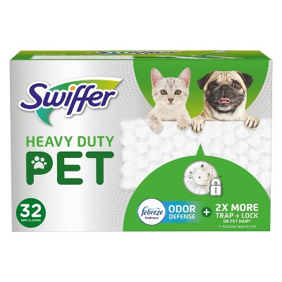 Swiffer Sweeper Pet Heavy Duty Multi-Surface Dry Cloth Refills for Floor Sweeping and Cleaning - 32ct