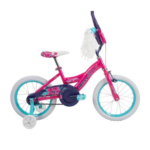 """Girls Bmx Bike With Training Wheels 18/"""" Black Sparkles Bicycle Handle Bar Pouch"""