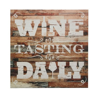 """15"""" x 15"""" Wine Tasting Daily Wooden Wall Art Worn White/Brown - Stonebriar Collection"""