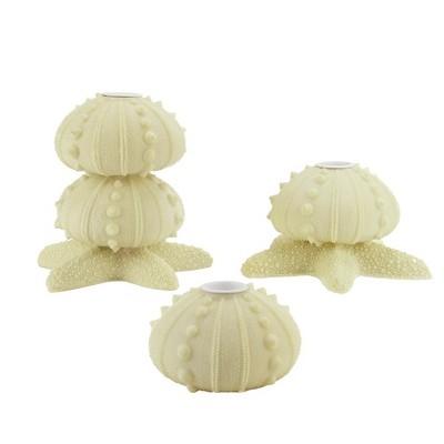 Gallerie II Set of 3 Beach Inspired Cream Star Fish Seashell Taper Candle Holders