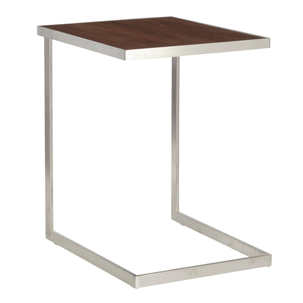 Image of Industrial Zenn End Table Silver/Walnut - Lumisource