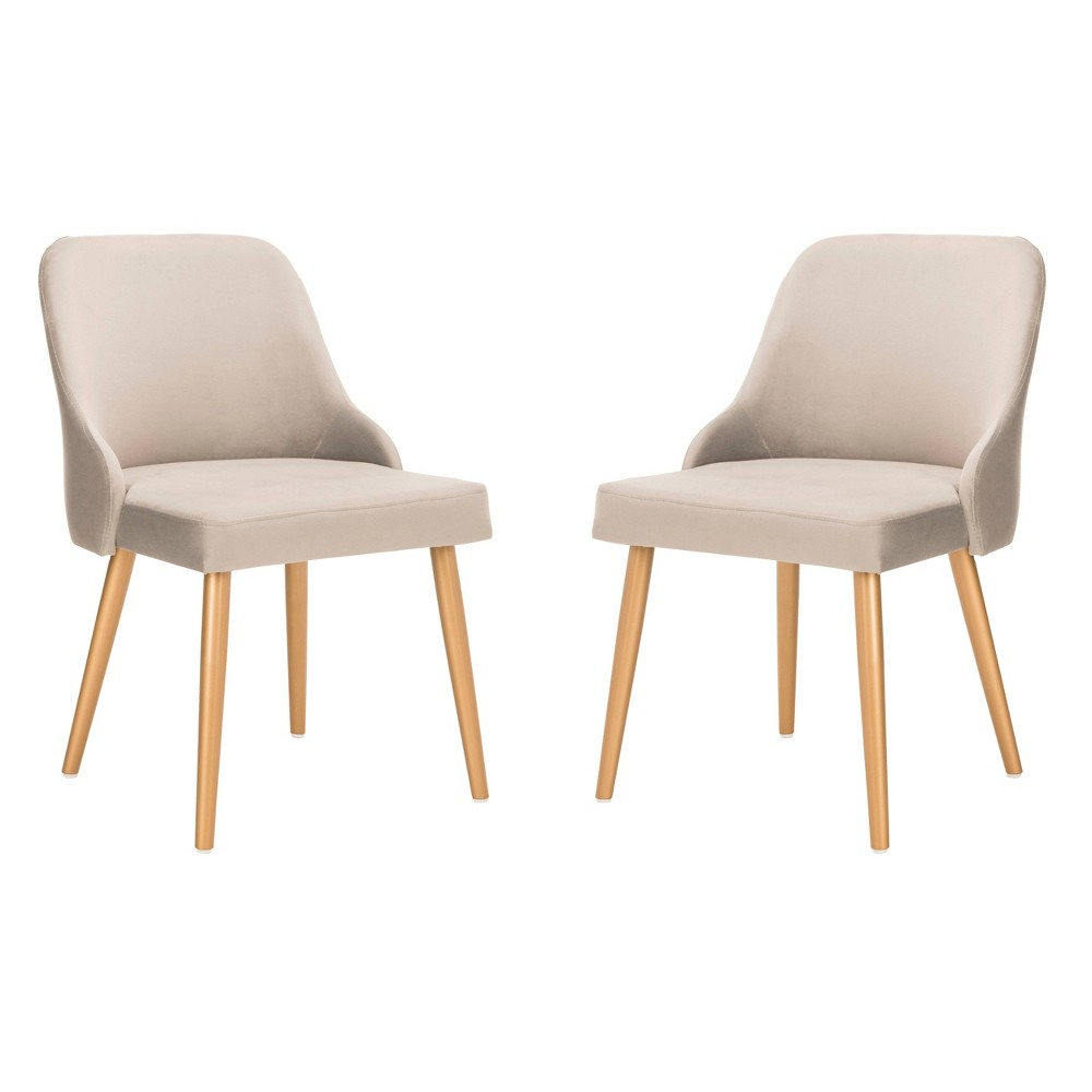 Set of 2 Lulu Upholstered Dining Chair Gray/Gold - Safavieh