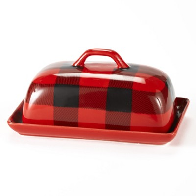 Lakeside Buffalo Check Tabletop Plaid Butter Dish - Kitchen Accent - 2 Pieces