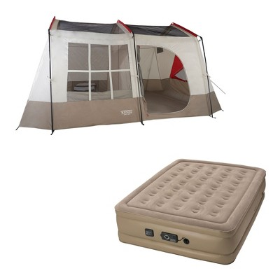 Wenzel Kodiak 9-Person Family Camping Cabin Tent with Insta-Bed Queen with Pump