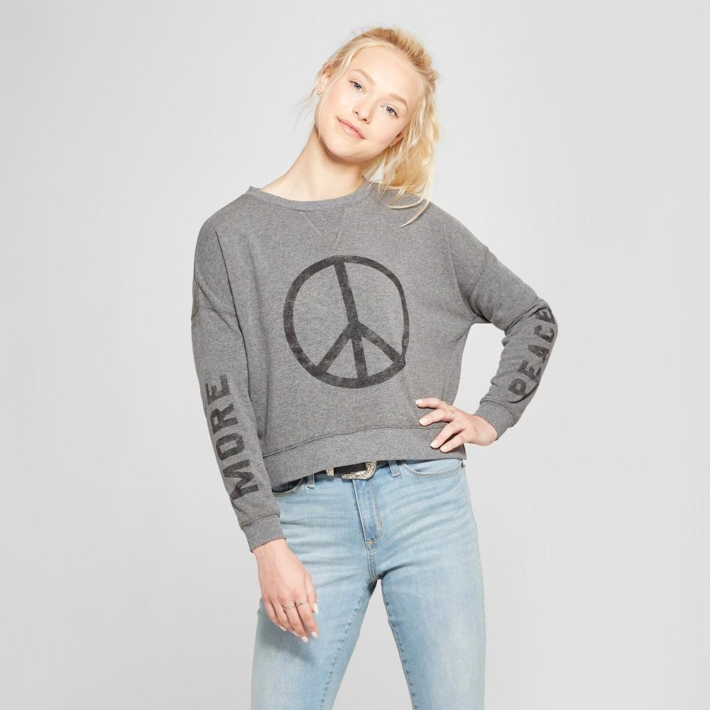Women's Peace Oversized Pullover Graphic Sweatshirt - Fifth Sun (Juniors') Heather Gray XL