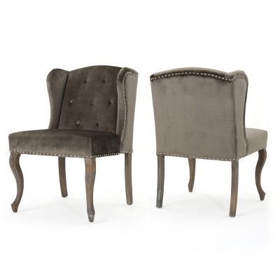 Set Of 2 Niclas New Velvet Accent Chair Gray - Christopher Knight Home : Target