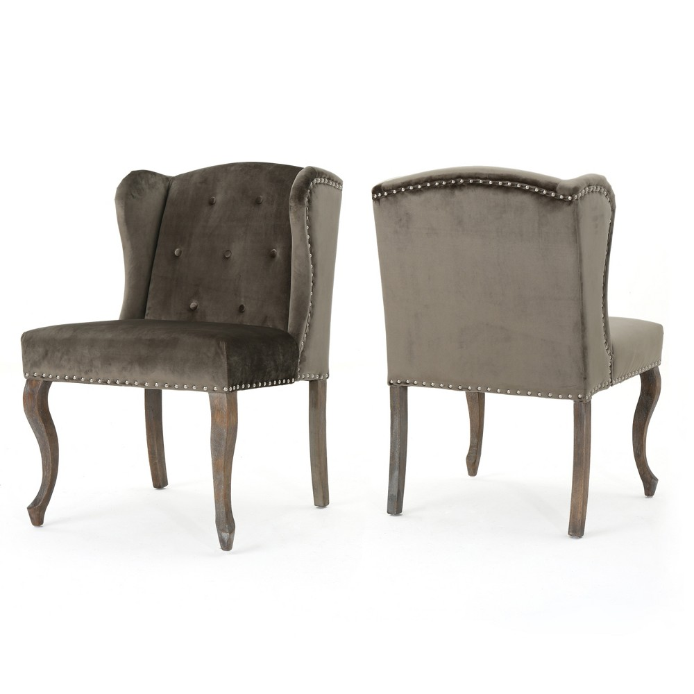 Niclas New Velvet Accent Chair - Gray (Set of 2) - Christopher Knight Home