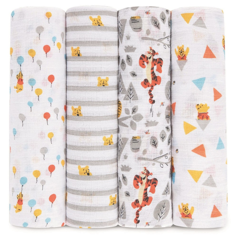 Image of Aden by Aden + Anais Muslin Swaddle - 4pk - Disney - Winnie the Pooh
