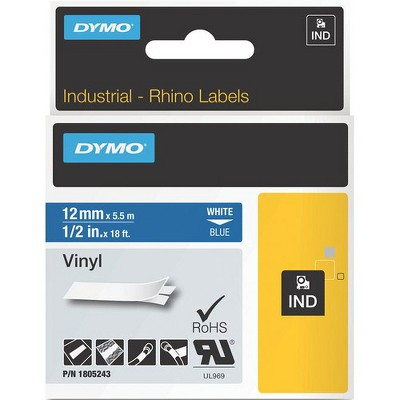 """Dymo White on Blue Color Coded Label - Permanent Adhesive - 15/32"""" Width x 18 ft Length - Thermal Transfer - Blue - Vinyl"""