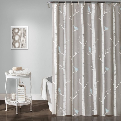 Bird on the Tree Shower Curtain Gray/Blue - Lush Decor - image 1 of 4