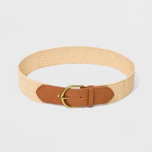 Women's Papaya Stretch Belt with Tabs - Universal Thread™ Raffia - image 1 of 2