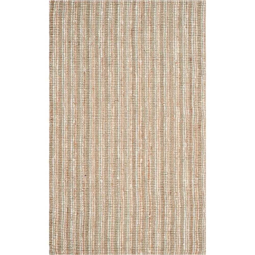 5'X8' Stripe Woven Area Rug Sage/Natural (Green/Natural) - Safavieh