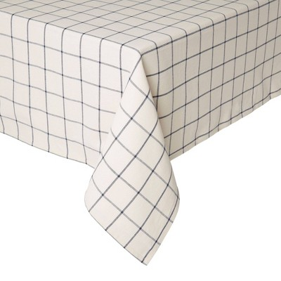"70"" x 52"" Cotton Window Pane Tablecloth White - Town & Country Living"