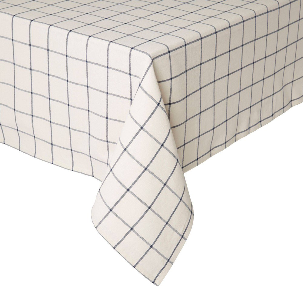 "Image of ""102"""" x 60"""" Cotton Window Pane Tablecloth White - Town & Country Living"""