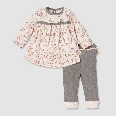 Burt's Bees Baby® Baby Girls' Organic Cotton Mauve Dress & Pant Set - Purple 6-9M