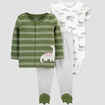 Baby Boys' 3pc Footed Top and Bottom Set with Cardigan - Just One You® made by carter's Green 3M