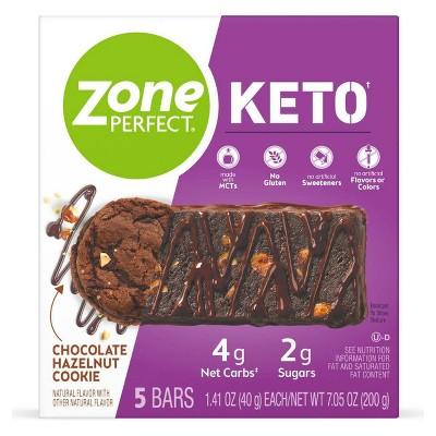 Zone Perfect Keto Bar Chocolate Hazelnut Cookie - 5pk/7.05oz