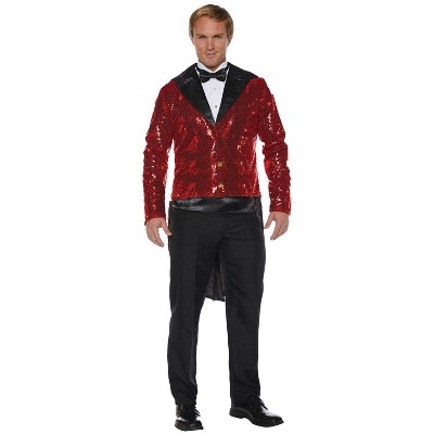 Adult Sequin Tails Red Halloween Costume One Size
