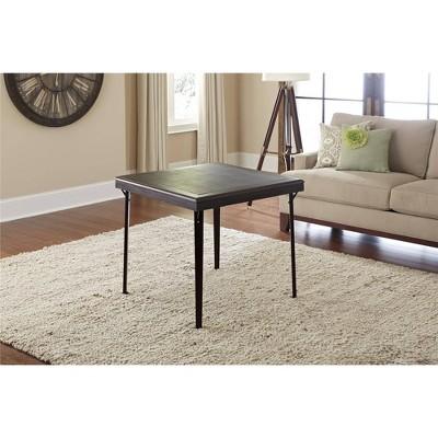32  Square Wood Folding Table with Vinyl Inset Espresso - Room & Joy