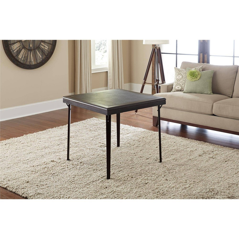 "Image of ""32"""" Square Wood Folding Table with Vinyl Inset Espresso - Room & Joy"""