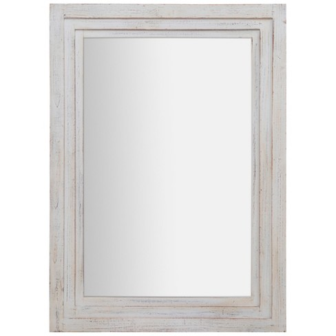"31""x44"" Distressed Tiered Barn Wood Framed Wall Mirror White - Gallery Solutions - image 1 of 7"