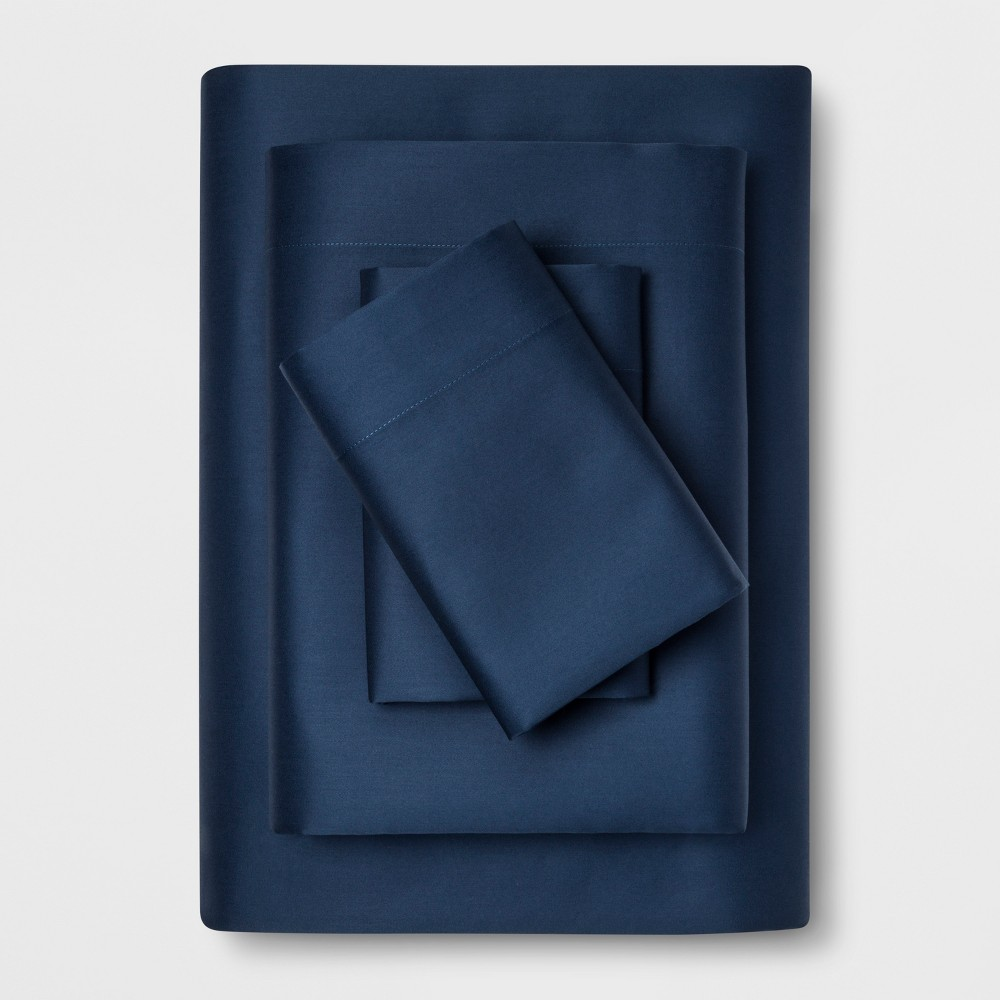 Image of Full 1200 Thread Count Bedding Sheet Set Navy (Blue) - Affordable Luxury by Trident Group