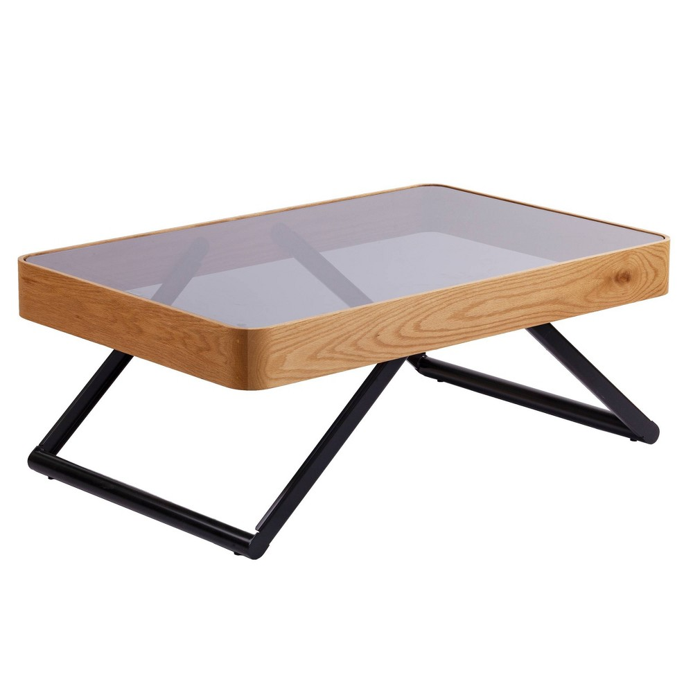 Image of Tarla Modern Glass Cocktail Table Oak with Glass Black - Aiden Lane, Black Brown