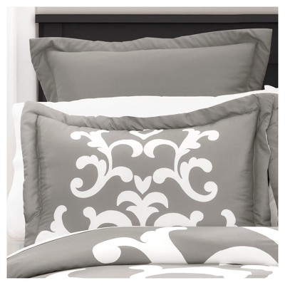 Gray Damsk Lavish Comforter Set (King)6pc - Lush Decor®