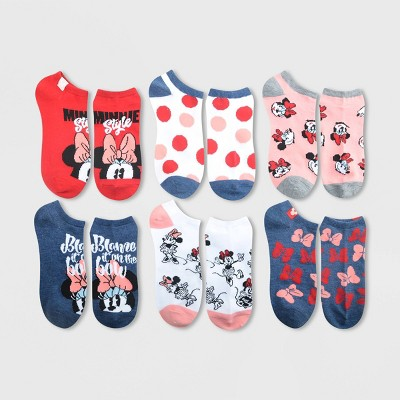 Women's Minnie Mouse 6pk Low Cut Socks - Assorted Colors 4-10