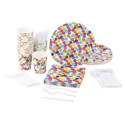 Juvale 144 Piece Serves 24 Disposable Polka Dot Party Dinnerware Set - Plates, Napkins, Cups, Cutlery