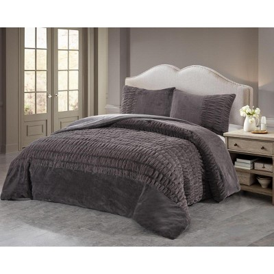 LILY NY Luxury Super Soft Thick Warm Weighted No-sheds Spandex Ruched Rabbit Faux Fur Comforter 3 PC SET