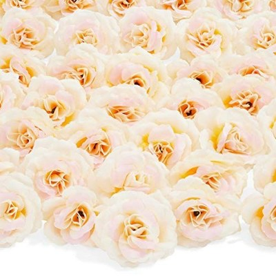 50 Pack Artificial Fake Silk Rose Flower Heads for Wedding Decoration, Bridal Bouquet, Home Decor - Champagne