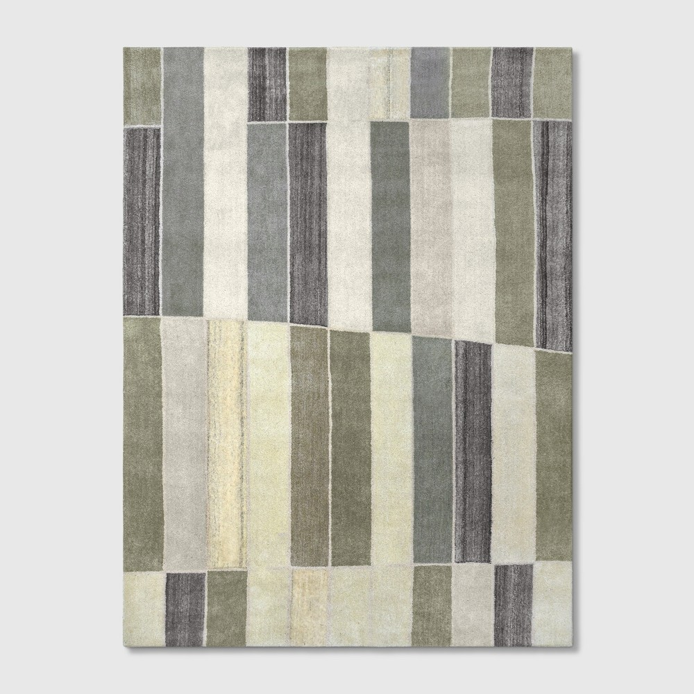 9'x12' Blocks Striped Tufted Area Rug Green/Gray - Project 62 was $599.99 now $299.99 (50.0% off)