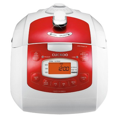 Cuckoo electronics Lightweight Kitchen Multifunctional Programmable 6 Cup Electric Pressure Rice Cooker, Red
