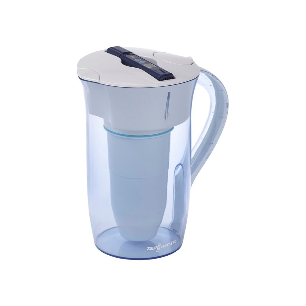 ZeroWater 10 Cup Round Water Pitcher with Ready-Pour + Free Water Quality Meter, Blue