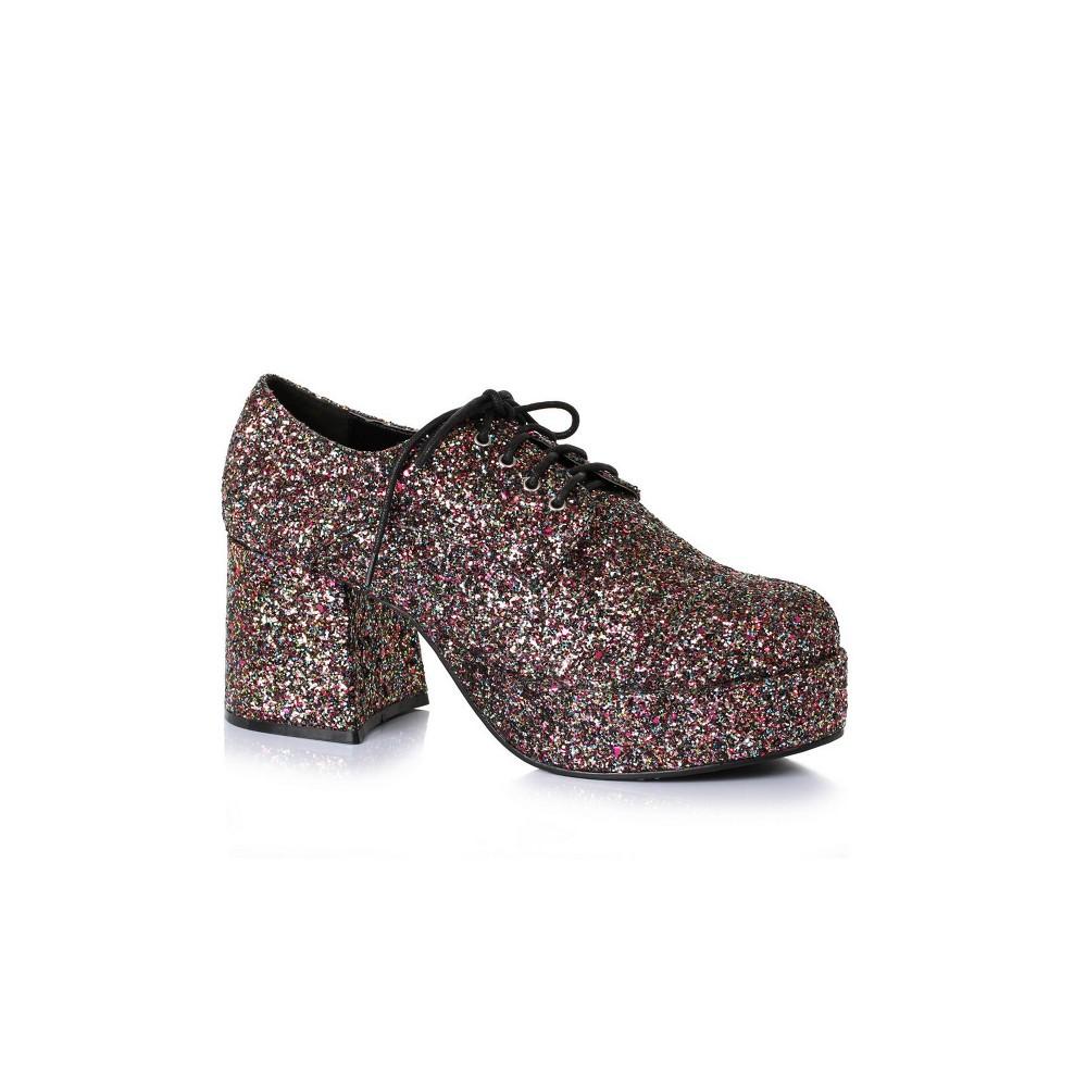 "Image of ""Halloween Men's Halloween 3"""" Heeled Platform Black Glitter Disco Costume Shoes M, Size: Medium"""