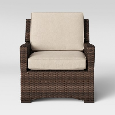 Halsted All Weather Wicker Outdoor Patio Club Chair Tan   Threshold™