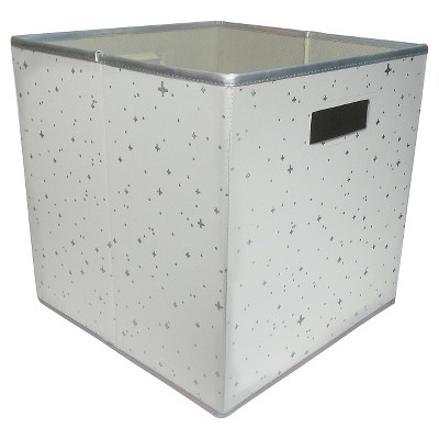 Fabric Cube Toy Storage Bin Silver Stars - Pillowfort™