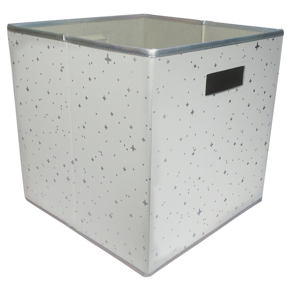 Fabric Cube Toy Storage Bin Silver Stars - Pillowfort, White/Silver The Fabric Cube Storage Bin (13 x13 ) Mint and Cream from Pillowfort offers a stylish storage solution for clothing or small toys. It's perfect for a kids' room, home office, laundry room or craft room. Mix and match colors and prints for a creative look. Color: White/Silver. Pattern: Star.